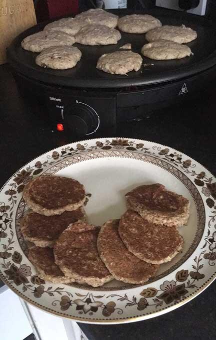 vegan keto pancakes on griddle